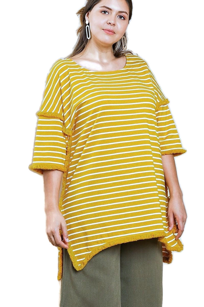 umgee striped & fringed tunic top plus size