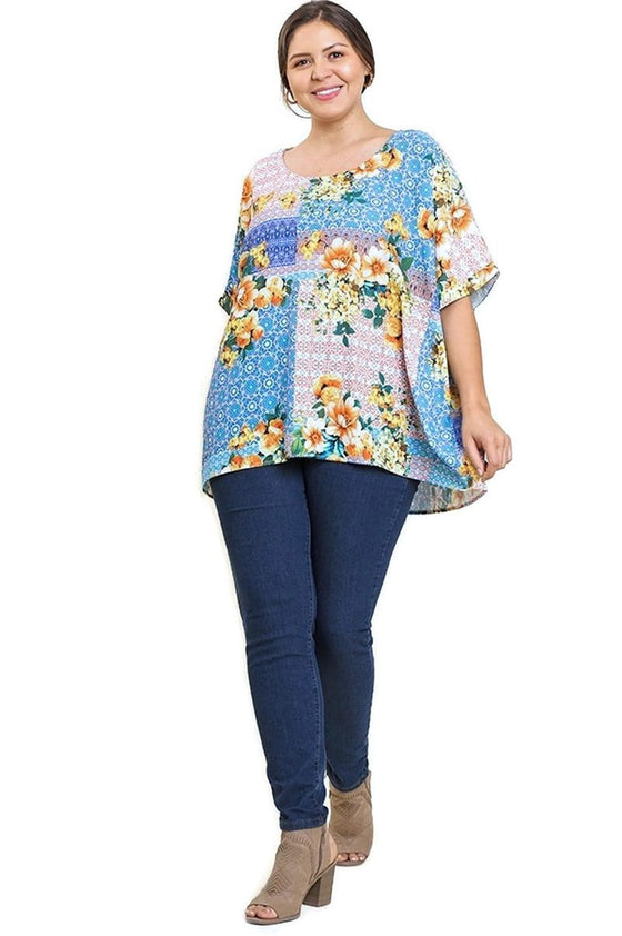 umgee floral print top plus size