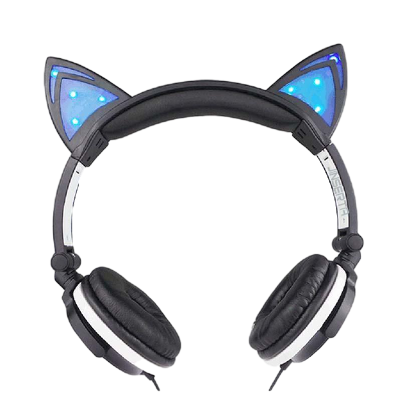 Flashing Light Up Over Ear Headphones, Foldable Fancy Gaming Headset For Smartphones