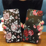 Luxury Roses Flower Fitted case Floral Painted Printed Back Cover Ultra thin Shell for iPhone