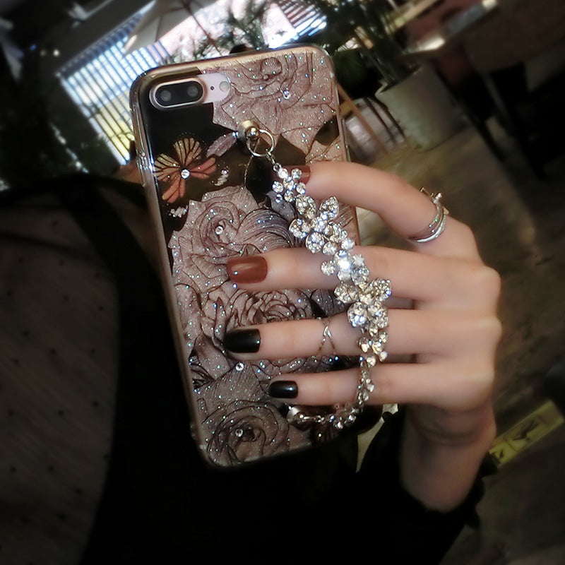 Luxury Strass Diamond Flexible Cover Bling Phone Case with Rhinestone Bracelet Chain
