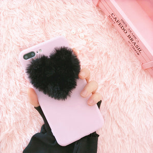 Fashion Fuzzy Furry Hair Plush Fur Hand Warmer Cute 3D Fluffy Plush Heart for most iPhone