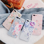 Fashion Silicone 3D Relief Flower TPU Soft Shell Phone Cases for iPhone