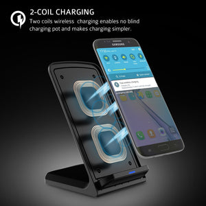 QI Wireless Quick 2.0 Fast Charging for iPhone 8 10 X Samsung S6 S7 S8 2-Coils Stand 5V/2A