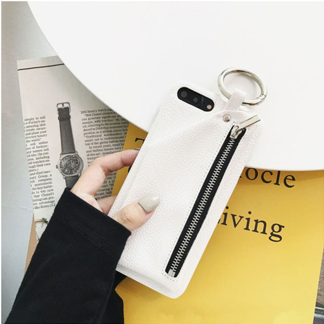 Fashion Leather Zipper Wallet Case for iPhones
