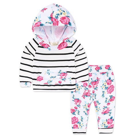 Stripe Tracksuit Hooded Tops + Leggings Floral Pants 2Pcs