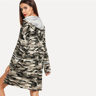Striped Sleeve Stepped Hem Camouflage Oversized Hoodie