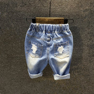 washed distressed denim shorts for boys