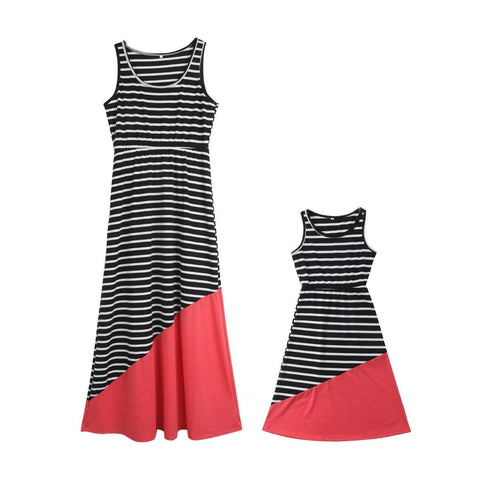 Sleeveless Striped Patchwork A-Line Sundress