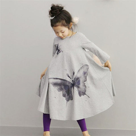 Long Sleeves Casual Big Butterfly Print Dress