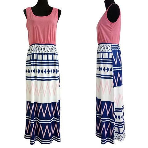 Sleeveless Clothes Patchwork Maxi Dress