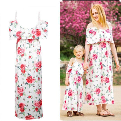 Mother and Daughter Matching Floral Womens Girls Long Maxi Dress