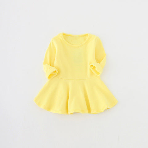 Candy Color Long Sleeve Cotton O-neck Ruffles Princess Dress