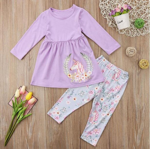 2 Pcs Unicorn Set Long Sleeve T-shirt + Print Pants