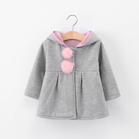 Cute Rabbit Ear Hooded Girls Coat
