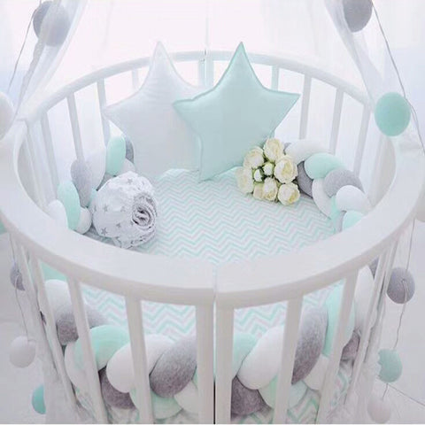 200cm Length Baby Bed Bumper Pure Color Weaving Plush