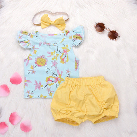 3Pcs Flowers T-shirt + Shorts + Headband