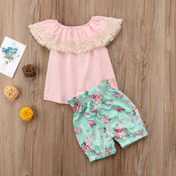 Floral Toddler Infant Lace Tassels T-shirt + Shorts