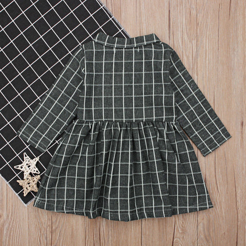 Long Sleeve Single Breasted Pater Pan Collar Plaid A-Line Dress