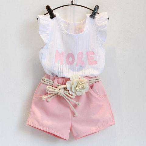 fresh color letter print vest + appliques belt shorts