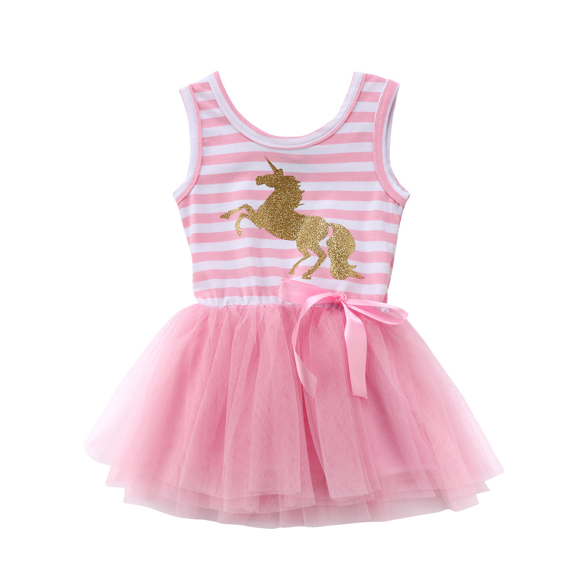 2018 Pretty Little Girl Baby Unicorn Dress Summer Sleeveless Striped