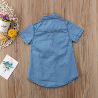 2018 Short Sleeves Toddler Kids Baby Girls Blue Casual shirt
