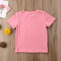 2018 Toddler Kids Girls Baby Short Sleeve Pink Letters Mama Bestie Cotton T-shirt