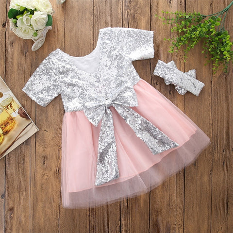 Ball Party Short Sleeves Backless Bow Chiffon Formal Sundress 1-6T