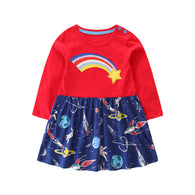 Long Sleeve Applique Rainbow Dress