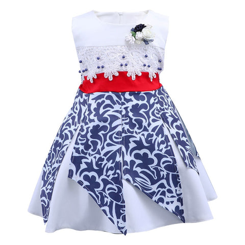 New Lace Print Tassel Costume Sleeveless Princess Dress