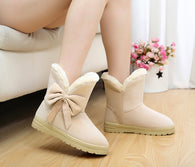 Thicken Warm Suede Ankle Boots Bow Butterfly