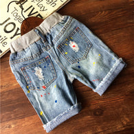 new casual color paints ripped denim shorts pants