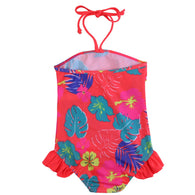 One Piece Halter Floral Print Swimsuit
