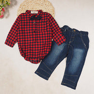 Long Sleeve Plaid Shirt Red Tops + Jeans Pants