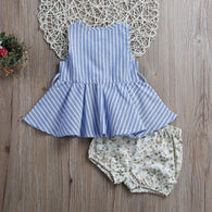 Clothing Set Sleeveless Button Striped Dress + Triangle Shorts
