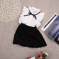 White Stripe Bow Blouse Tops + Shorts Skirt