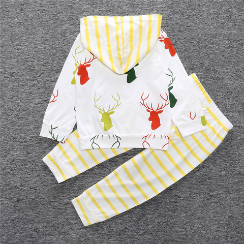 Long Sleeve Hooded Coat Tops Deer + Pants