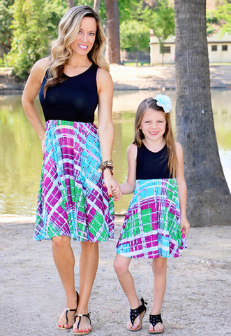 Mother And Daughter Beach Summer Matching Sleeveless Sundress