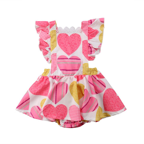 Petal Sleeve Ruffles Heart Print Pink Belt A-Line Knee-Length Dress