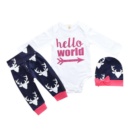 Romper Deer + Pants Leggings + Hat 3pcs