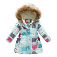 Cartoon Print Long Winter Jacket For Girl