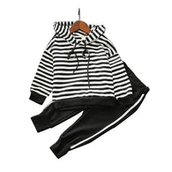 New Striped Hooded Sweater + Trousers 2PCS