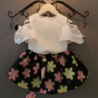 Chiffon White Tops Shirt + Floral Skirt