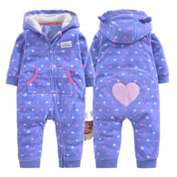 Fleece Cotton Stripe Heart-shaped Cartoon Print Jumpsuit