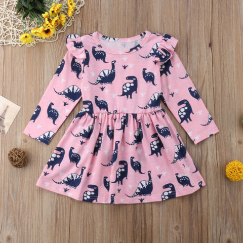 Long Sleeve Dinosaur Cotton Pageant Cartoon Pink Dress