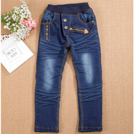 zipper leather label elastic jeans pants