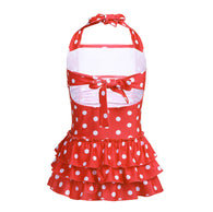Swimsuit Summer Dress One-piece Adjustable Halter Polka Dots