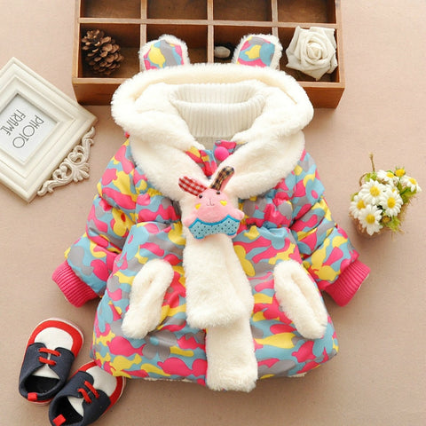 Fur Fleece Party Coat Winter Warm Parkas Jacket + Scarf