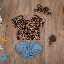 4 PCS Clothes Set Backless Leopard T-shirt Tops + Denim Shorts