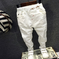 white casual embroidery letters ripped Slim pants